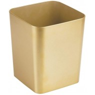 mDesign Square Shatter-Resistant Plastic Small Trash Can Wastebasket Garbage Container Bin for Bathrooms Powder Rooms Kitchens Home Offices - Soft Brass Finish Office Products B0753JCDNC